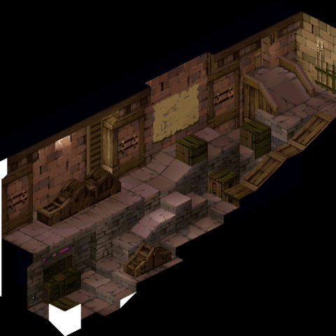 Yardow's weapon storage, as shown in a cutscene.
