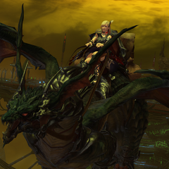 The Warrior of Light riding on Midgardsormr in his <a href=