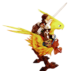 Squire rides a chocobo.