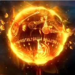 Brynhildr is summoned from a ball of fire.