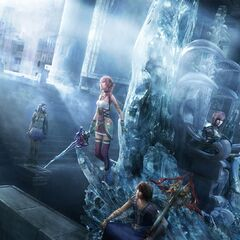 Key art of the cast in Etro's temple for <i>Final Fantasy XIII-2</i>.