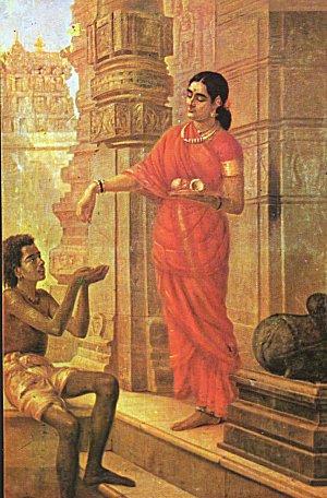 File:Ravi Varma-Lady Giving Alms at the Temple.jpg