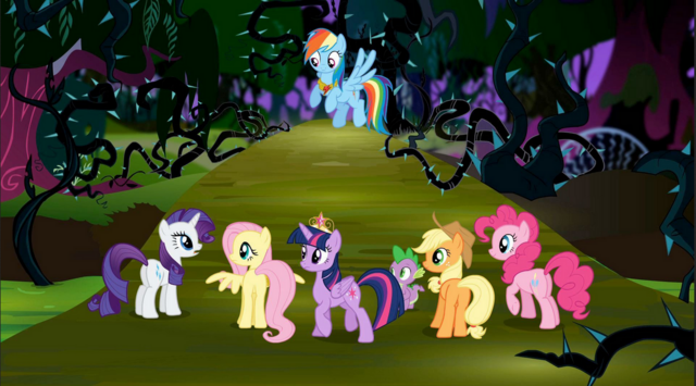 File:Mane 6 in Everfree Forest S4 E1.PNG