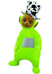 Dipsy from the show wearing his hat