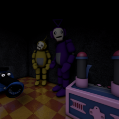 Regular Tinky Winky in the old explosion incident cutscene from Five Nights at Tubbyland 2.