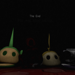 An image of Tinky Winky's head along with two other Laa-Laa's, Dipsy's and Po's head in the style of FNaF 3's ending screen, from Critolious's DeviantArt.