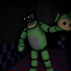 Dipsy in the Tubby Hall. Note that he has taken of the upper head of the suit, revealing his endoskeleton head.