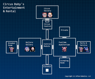 Map of Circus Baby's Entertainment and Rentals from the Extras Menu
