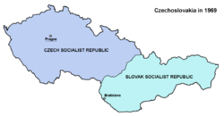 Map of the Czechoslovak Socialist Republic