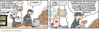 Beetle Bailey peeling potatoes