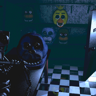 The animatronic heads and endoskeleton staring at the camera, brightened and saturated for clarity.
