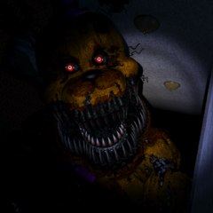Nightmare Fredbear getting closer in the Left Hall.