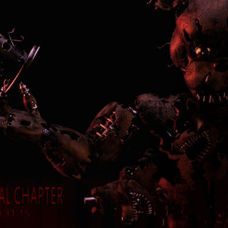 The first teaser, an image depicting Nightmare Freddy. The word in the background is
