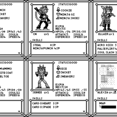 Status Screens for each character (Prior to Seb's removal)