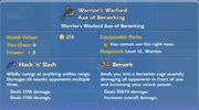 Warrior's Warlord Axe of Berserking item