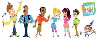 Fresh Beat Band of Spies Twist Kiki Shout Marina Bo Monkey Commissioner Goldstar Reed Characters Nickelodeon Nick Jr Show