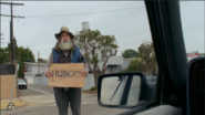 Hobo inappropriately on the street