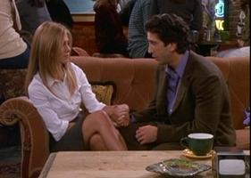 Rachel and Ross Holding Hands