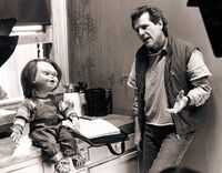 Tom Holland and Chucky on the Set of Child's Play