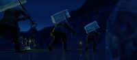 Ice harvesters with ice blocks