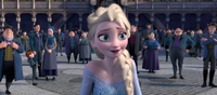 Elsa prepares to make a skating rink