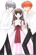 Tohru Honda in a pink dress with Yuki and Kyo Sohma
