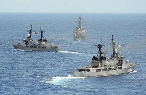 Philippine frigates with USS John S. McCain (DDg-56) in June 2014