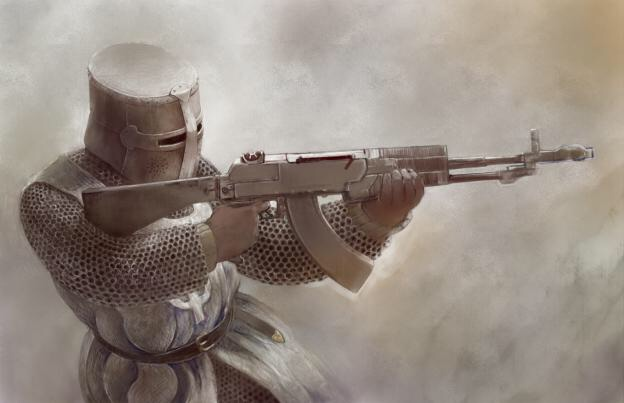 File:A knight Templar attacking Mecca after the chemical attack. His helmet also works as a gas mask.jpg