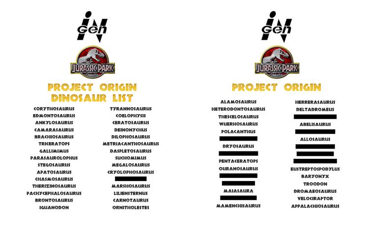 Project Origin - Dinosaur List Reveal 26
