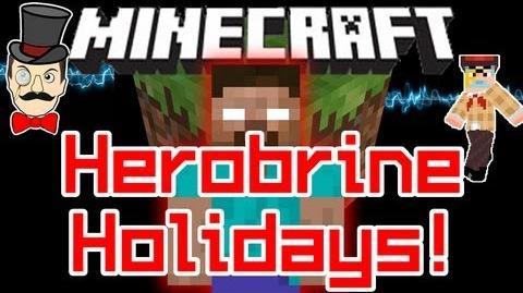 Minecraft HEROBRINE HOLIDAY Sighting ! Christmas Santa Wars at Log Cabin !-0