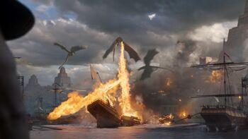 Dragons destroy ships in Meereen