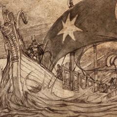 Андалы перетинають Вузький море, на вітрилі зображена семикутня зірка