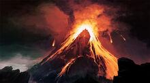 Erupting red mountain