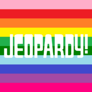 Jeopardy! Logo in Horizontal Rainbow Stripes Background in White Letters