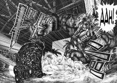 Shion kills Triceratops alien