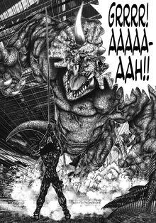 Gantz Triceratops charges Shion