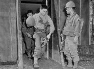 Enlisted Men Of The 442nd Infantry Regiment Exiting A Gas Chamber With M3-10A1-6 Lightweight Service Masks