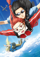 Piña and Tuka sky diving from volume 8 of light novels
