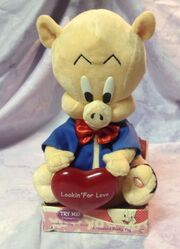 Porky Pig Valentine Plush 8'' Animated Musical Sings ''Looking for Love''