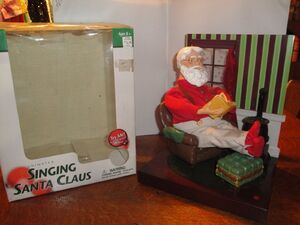 2002 Gemmy Animated Singing Santa-In Chair W Book & Feet Propped Up