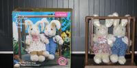 Animated Easter bunnies on swing