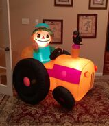 Gemmy Prototype Scarecrow on Tractor Inflatable Airblown