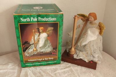 1995 Gemmy North Pole Productions Animated Christmas Angel With Harp