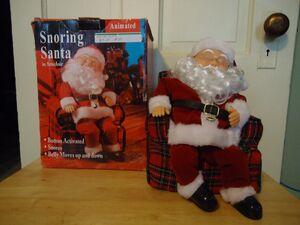 Gemmy animated snoring santa in armchair
