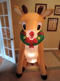 Gemmy inflatable Rudolph with wreath on neck