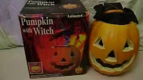 GEMMY~HALLOWEEN DECORATION~PUMPKIN WITH WITCH~ANIMATED~SOUND~MOTION~BOX~1995