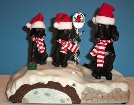 Vintage Gemmy Singing Caroling Black Lab Dogs Jingle Bells Christmas Animated