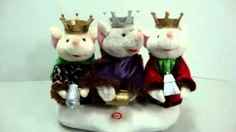 RARE Gemmy We Three Kings Animated Singing Mice Trio Blinking Lights See Video