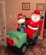 Gemmy Prototype Christmas Santa Golf Cart Inflatable Airblown