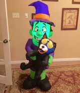 Gemmy Prototype Halloween Witch with Cat Inflatable Airblown